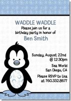 Penguin Blue - Birthday Party Invitations