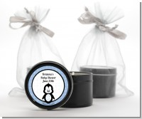 Penguin Blue - Baby Shower Black Candle Tin Favors