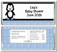 Penguin Blue - Personalized Baby Shower Candy Bar Wrappers