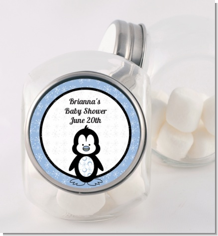 Penguin Blue - Personalized Baby Shower Candy Jar