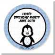 Penguin Blue - Round Personalized Birthday Party Sticker Labels thumbnail