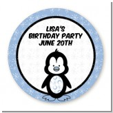 Penguin Blue - Round Personalized Birthday Party Sticker Labels