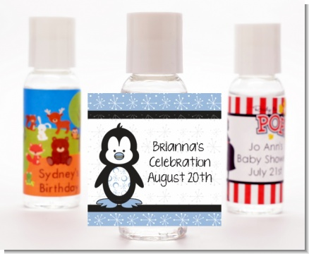 Penguin Blue - Personalized Birthday Party Hand Sanitizers Favors