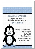 Penguin Blue - Baby Shower Petite Invitations
