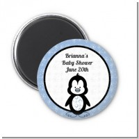 Penguin Blue - Personalized Baby Shower Magnet Favors