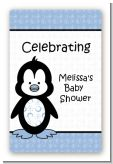 Penguin Blue - Custom Large Rectangle Baby Shower Sticker/Labels
