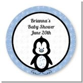 Penguin Blue - Round Personalized Baby Shower Sticker Labels