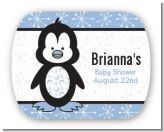 Penguin Blue - Personalized Baby Shower Rounded Corner Stickers