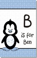 Penguin Blue - Personalized Baby Shower Nursery Wall Art
