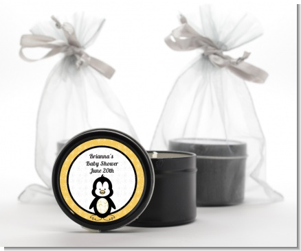 Penguin - Baby Shower Black Candle Tin Favors