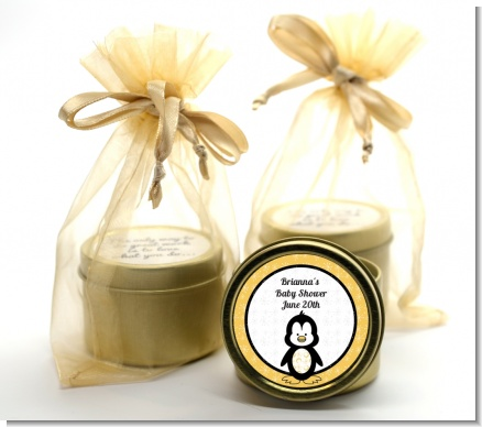 Penguin - Baby Shower Gold Tin Candle Favors