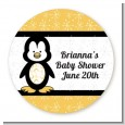 Penguin - Round Personalized Baby Shower Sticker Labels thumbnail