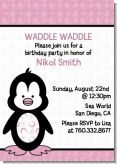 Penguin Pink - Birthday Party Invitations