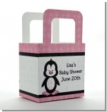 Penguin Pink - Personalized Baby Shower Favor Boxes