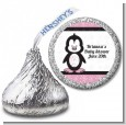 Penguin Pink - Hershey Kiss Baby Shower Sticker Labels thumbnail