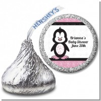Penguin Pink - Hershey Kiss Baby Shower Sticker Labels