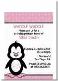 Penguin Pink - Baby Shower Petite Invitations