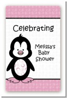Penguin Pink - Custom Large Rectangle Baby Shower Sticker/Labels