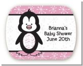 Penguin Pink - Personalized Baby Shower Rounded Corner Stickers