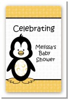 Penguin - Custom Large Rectangle Baby Shower Sticker/Labels