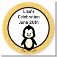 Penguin - Round Personalized Birthday Party Sticker Labels thumbnail