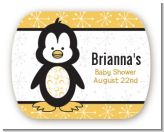 Penguin - Personalized Baby Shower Rounded Corner Stickers
