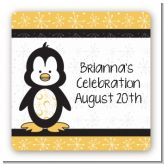Penguin - Square Personalized Baby Shower Sticker Labels