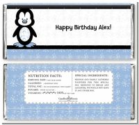 Penguin Blue - Personalized Birthday Party Candy Bar Wrappers