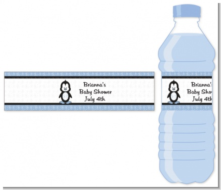 Penguin Blue - Personalized Baby Shower Water Bottle Labels