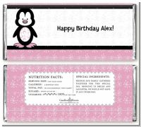 Penguin Pink - Personalized Birthday Party Candy Bar Wrappers