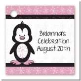 Penguin Pink - Personalized Baby Shower Card Stock Favor Tags