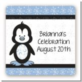 Penguin Blue - Square Personalized Birthday Party Sticker Labels