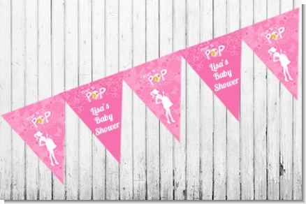 She's Ready To Pop Pink - Baby Shower Themed Pennant Set