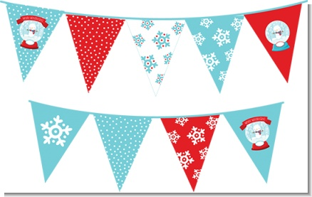 Snow Globe Winter Wonderland - Birthday Party Themed Pennant Set