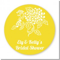 Peony - Round Personalized Bridal Shower Sticker Labels