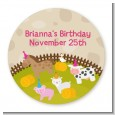 Petting Zoo - Round Personalized Birthday Party Sticker Labels thumbnail