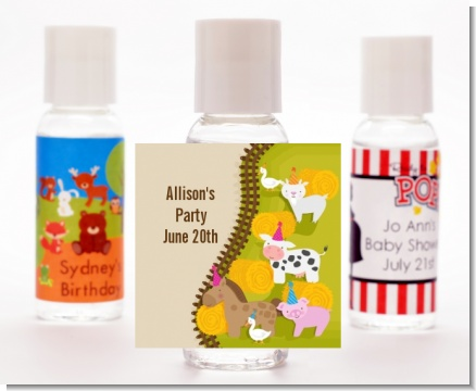 Petting Zoo - Personalized Birthday Party Hand Sanitizers Favors