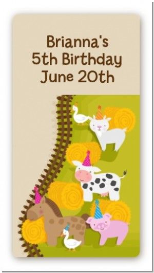 Petting Zoo - Custom Rectangle Birthday Party Sticker/Labels