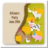 Petting Zoo - Square Personalized Birthday Party Sticker Labels