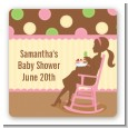 Pickles & Ice Cream - Square Personalized Baby Shower Sticker Labels thumbnail