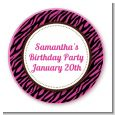 Zebra Print Pink & Black - Round Personalized Sticker Labels thumbnail