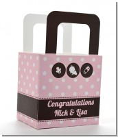 Modern Baby Girl Pink Polka Dots - Personalized Baby Shower Favor Boxes