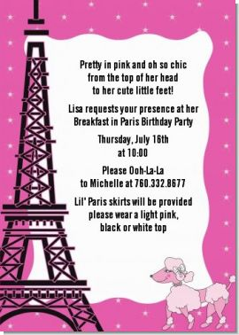 Pink Poodle in Paris - Birthday Party Invitations