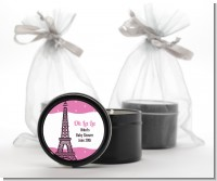 Pink Poodle in Paris - Baby Shower Black Candle Tin Favors