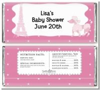 Pink Poodle in Paris - Personalized Baby Shower Candy Bar Wrappers