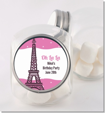 Pink Poodle in Paris - Personalized Baby Shower Candy Jar