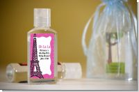 Pink Poodle in Paris - Personalized Baby Shower Hand Sanitizers Favors