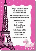 Pink Poodle in Paris - Baby Shower Invitations