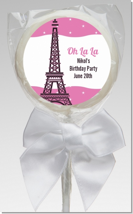 Pink Poodle in Paris - Personalized Birthday Party Lollipop Favors