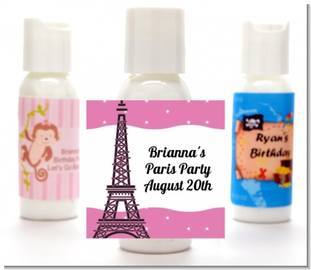 Pink Poodle in Paris - Personalized Birthday Party Lotion Favors